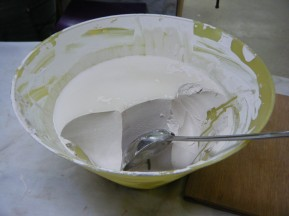 Gesso turns into a gel-like substance when left overnight to set and can be restored to liquid by heatng